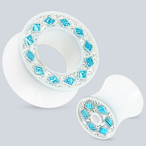 Acrylic Ear Tunnels With Diamond Gemmed Rim