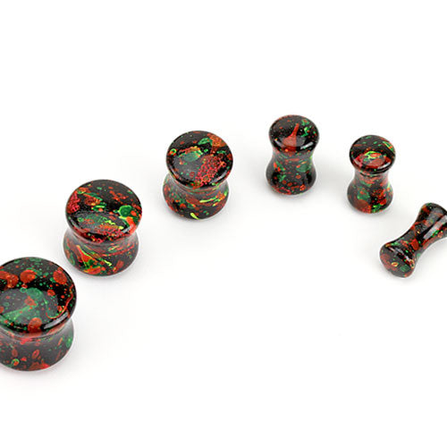 Black Solid Acrylic with Paint Splatter Print Saddle Plugs - BodyJewelrySource