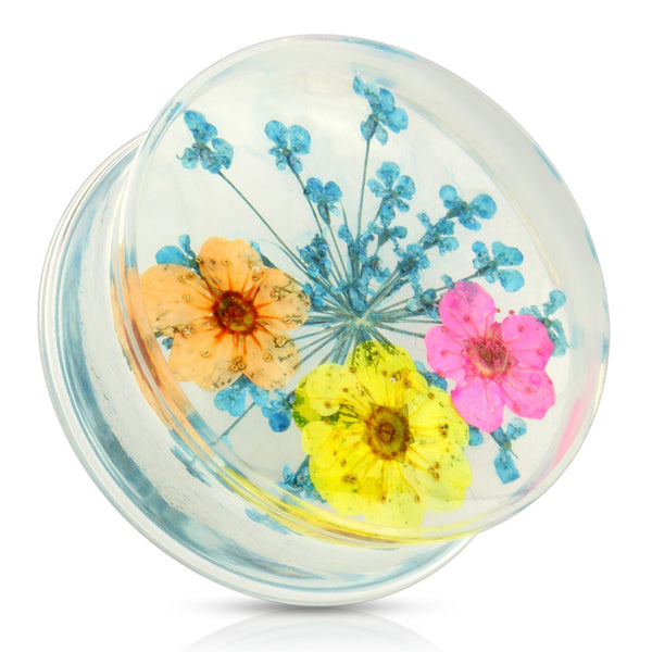 Dried Flower Blue Acrylic Saddle Plugs