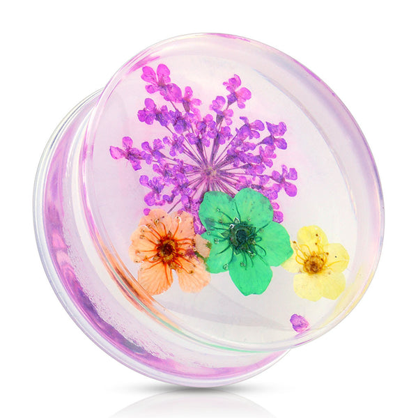 Dried Flower Purple Acrylic Saddle Plugs