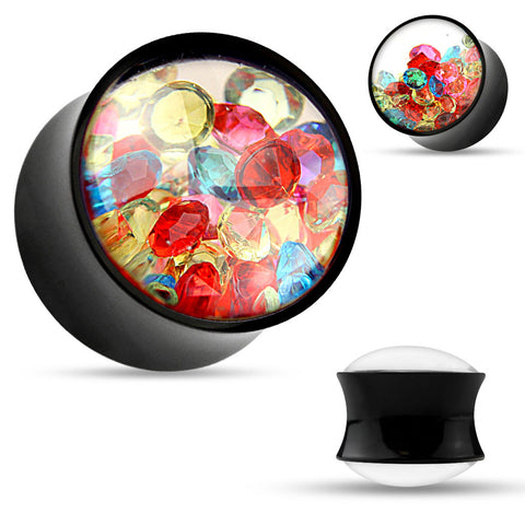 SALE- Colorful Crystal in Black Acrylic Saddle Plugs