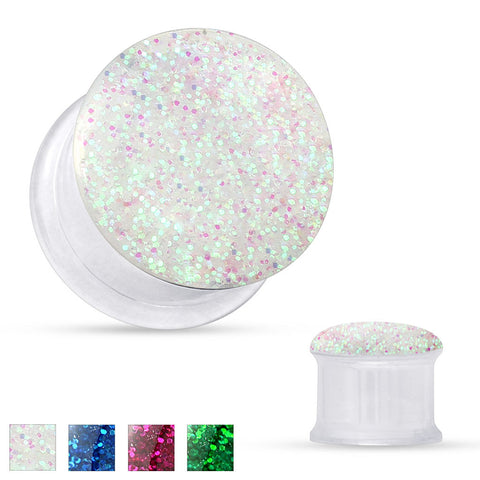 Sale - Clear Acrylic with Sparkling Glitter Front Double Flared Tunnels