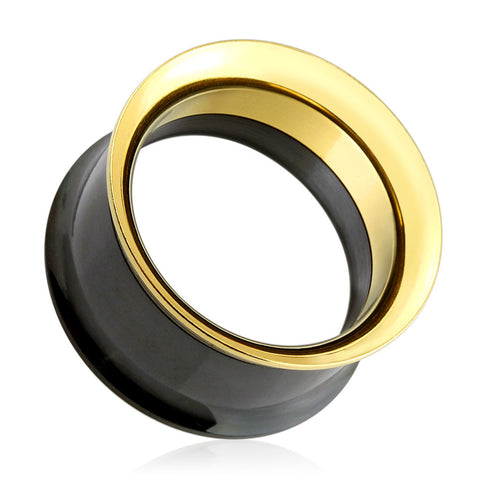 SALE-Black & Gold Screw Fit Tunnels