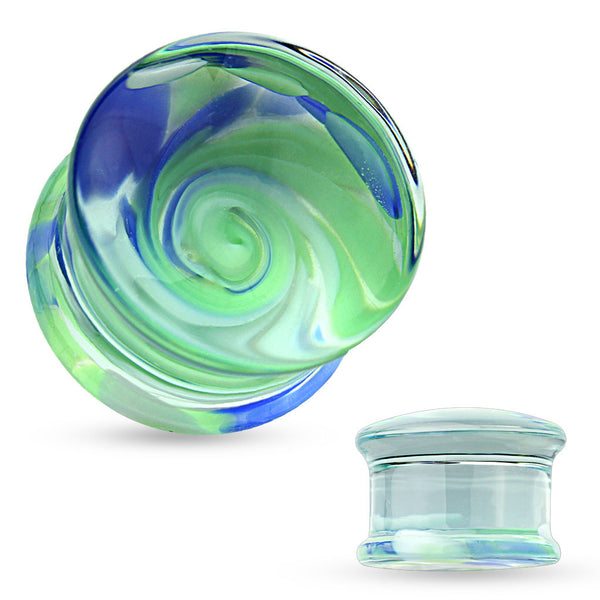 Double Flared Blue and Green Swirl Glass Pyrex Plug