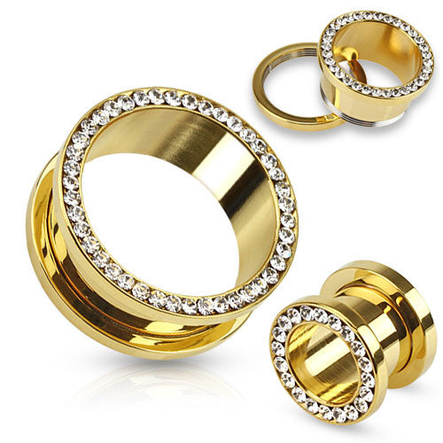 Multi Gemmed Rim Gold IP Ear Tunnels