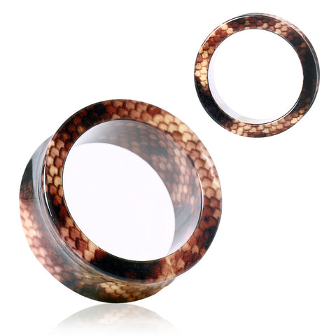 Acrylic Brown Snake Skin Tunnels