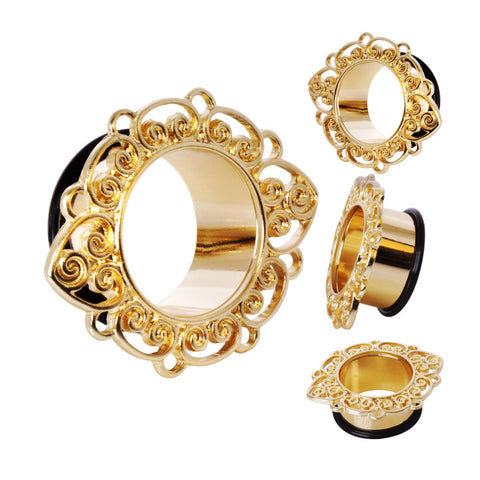 Gold Plated Single Flare Ornate Petal Flesh Tunnel