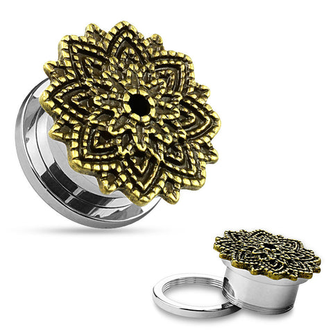 SALE- Manish Lotus Flower 316L Surgical Steel Screw Fit Tunnels