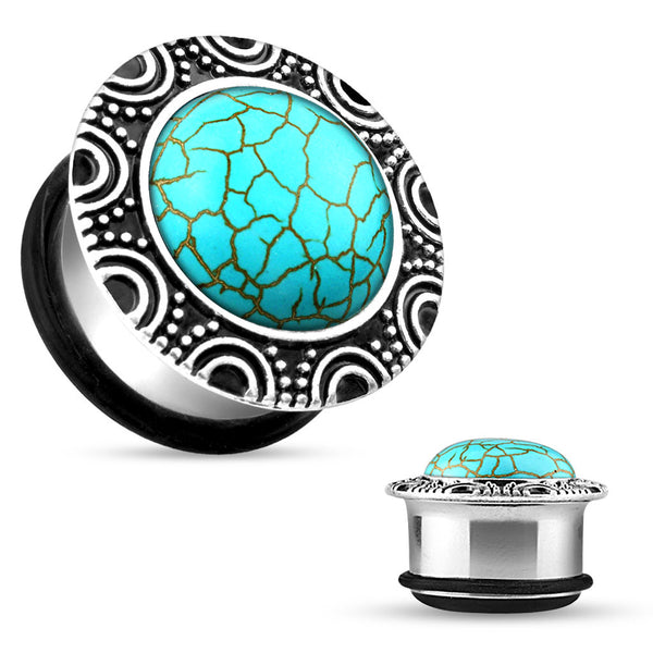 Turquoise Silver Single Flare Plug with O-Ring