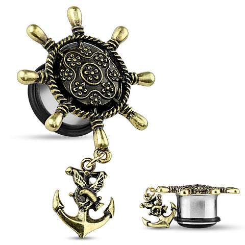 Single Flare Ship Wheel With Anchor Dangle