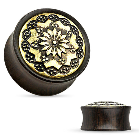 Floral Pattern Ebony Wood Double Flare Saddle Plug