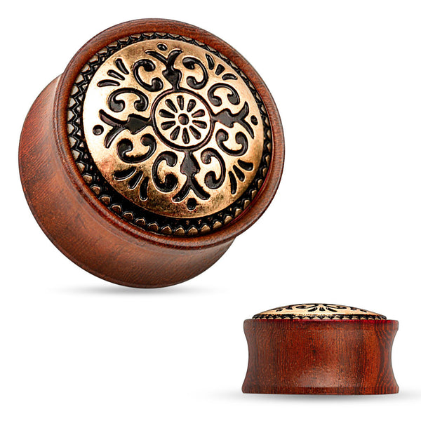 Antique Tribal Pattern Rose Wood Saddle Plug - BodyJewelrySource