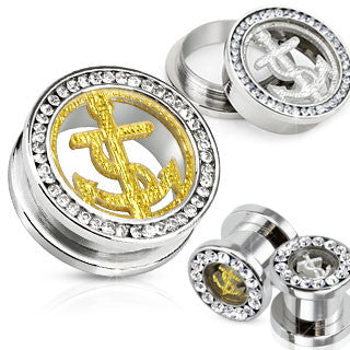 Stainless Steel Gemmed Ear Tunnel With Glitter Anchor