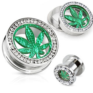 Stainless Steel Gemmed Ear Tunnel With Glitter Pot Leaf