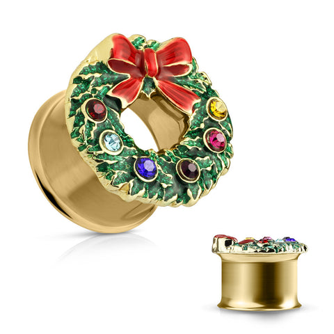 Crystals & Enamel Colored X-Mas Wreath Top Gold IP 316L Surgical Steel Double Flared Tunnels