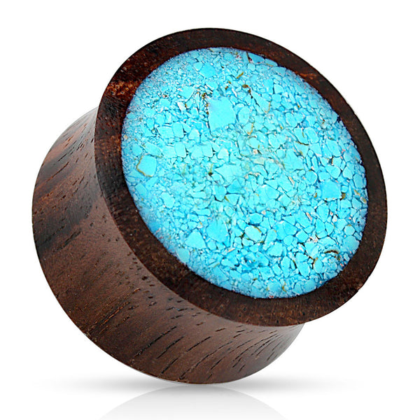 SALE- Organic Wood with Crushed Turquoise Saddle Plug