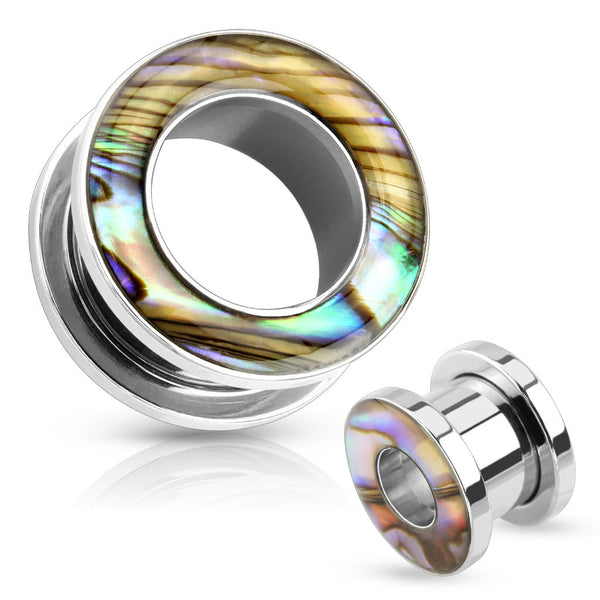 Abalone Inlay Stainless Steel Flesh Tunnels - BodyJewelrySource