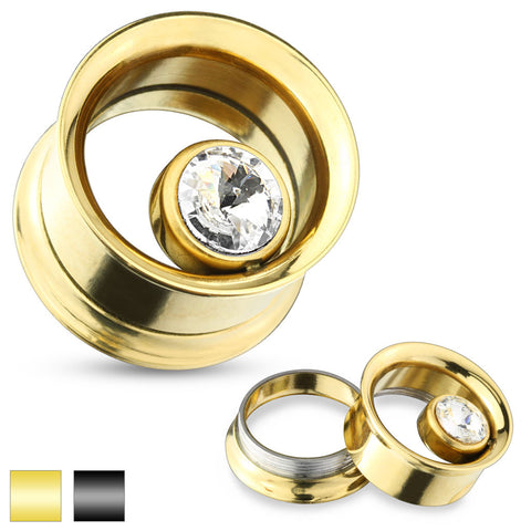 Gold Ion Plated CZ Screw Fit Tunnel