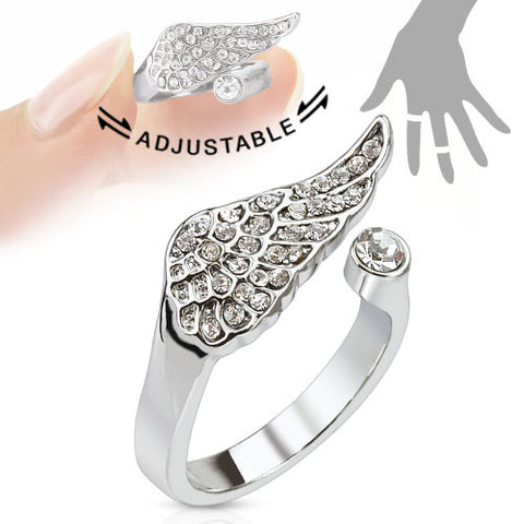 Mid-Ring/Toe Ring Pave Gems Angel Wing