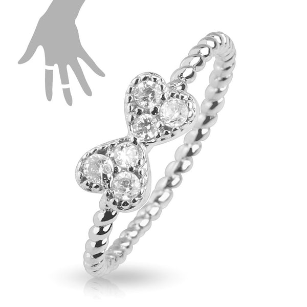 Mid-Ring/Toe Ring With Multi Paved Ribbon Rhodium Plated