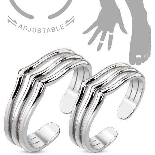Mid-Ring/Toe Ring Triple Lines Adjustable Pair
