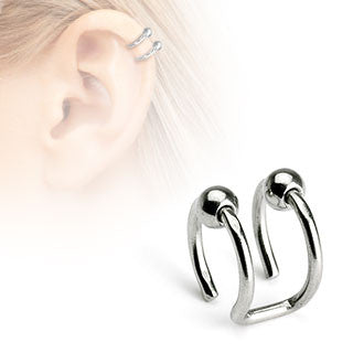 Double Closure Ring with Beads 316L Surgical Steel Fake Non-Piercing Cartilage 'Clip-On'