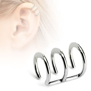 Triple Closure Ring 316L Surgical Steel Fake Non-Piercing Cartilage 'Clip-On'