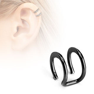 Double Closure Ring Titanium IP Over 316L Surgical Steel Fake Non-Piercing Cartilage 'Clip-On'