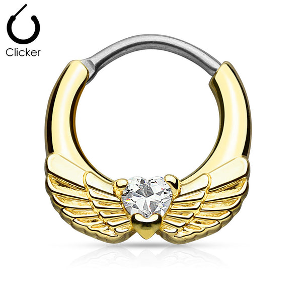 Angel Wing With Heart CZ Septum Clicker - BodyJewelrySource