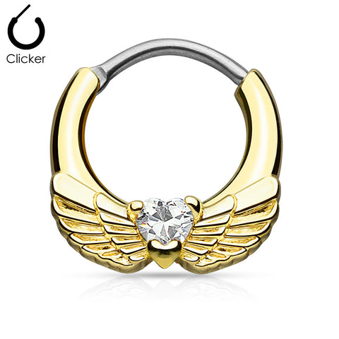 Angel Wing With Heart CZ Septum Clicker