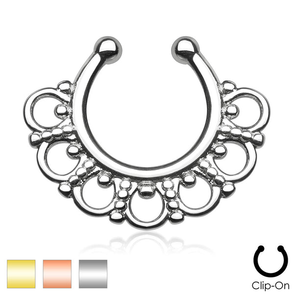 Tribal Fan Non-Piercing Septum Hanger