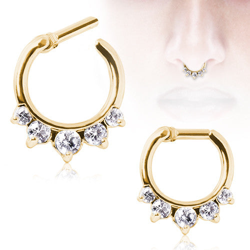 Gold Plated Princess Gems Septum Clicker
