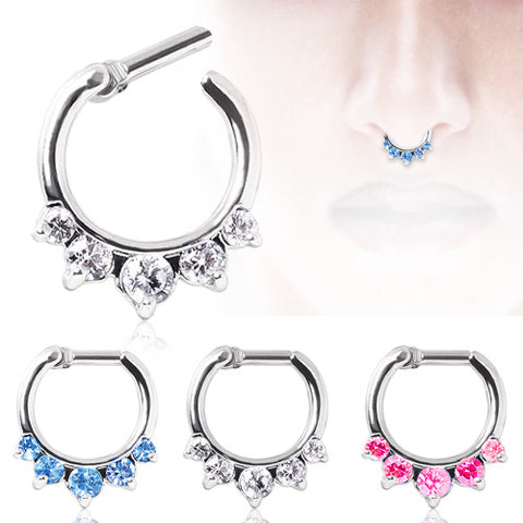 Princess Cut Gemmed Septum Clicker