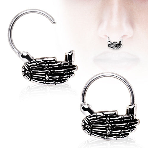 SALE-Skeleton Hand Septum Clicker
