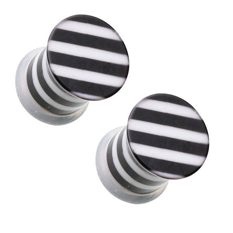 Black and White Striped Single Flared Ear Plugs
