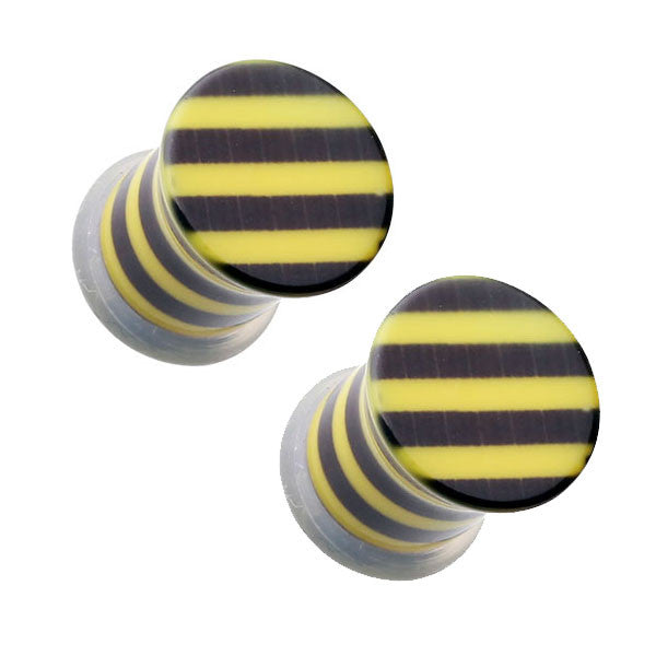 Yellow and Black Striped Single Flared Ear Plugs