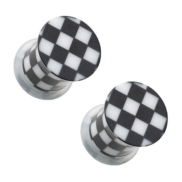 Black & White Checker Single Flared Ear Plugs - BodyJewelrySource