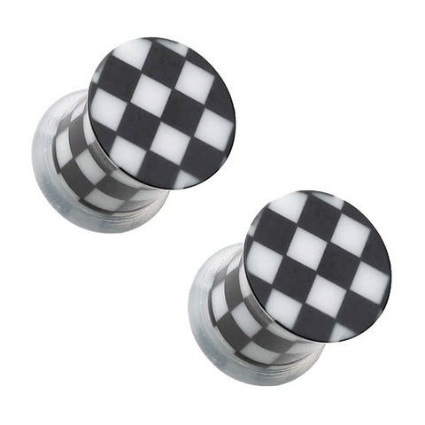 Black & White Checker Single Flared Ear Plugs