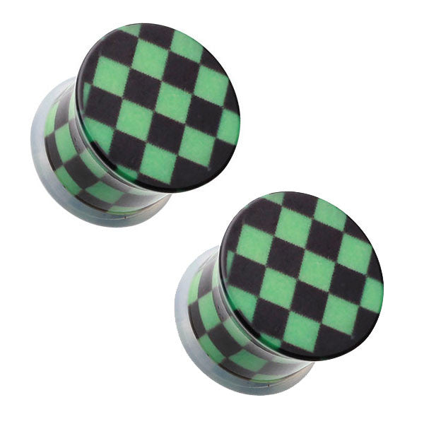 Black & Green Checker Single Flared Ear Plugs - BodyJewelrySource