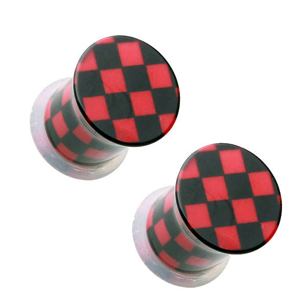 Black & Red Checker Single Flared Ear Plugs - BodyJewelrySource