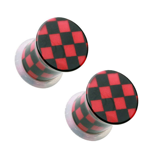 Black & Red Checker Single Flared Ear Plugs