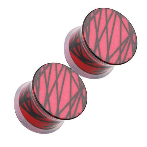 Red With Black Splatter Single Flared Ear Plugs