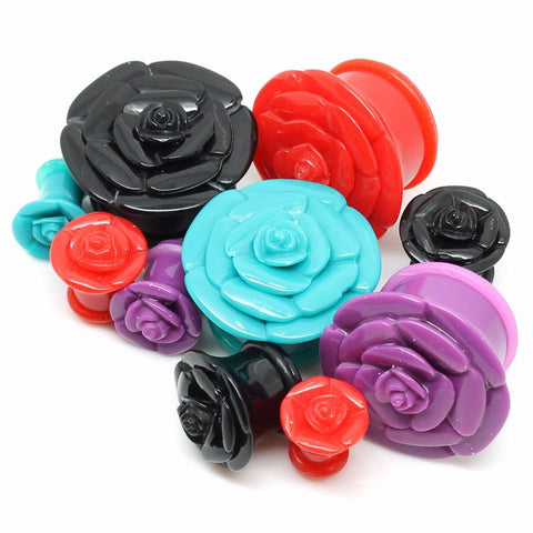 Acrylic Rosebud Ear Gauges