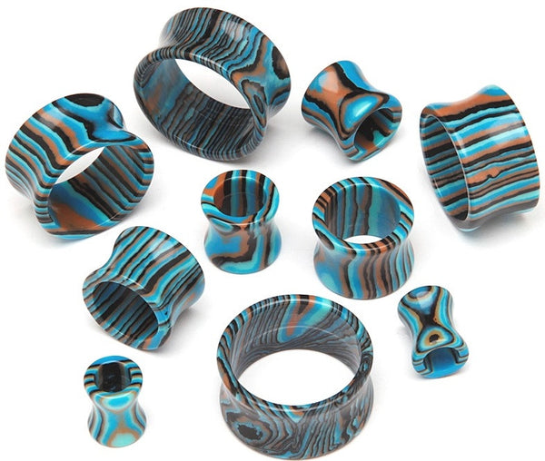 Agate Stripped Hollow Tunnels - BodyJewelrySource