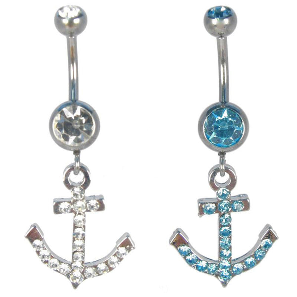 Anchor With Stones Navel Ring - BodyJewelrySource