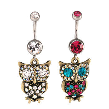 Antique Big Owl Navel Rings - BodyJewelrySource