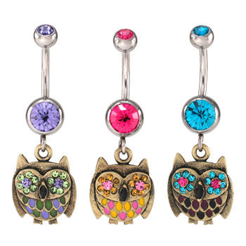 Antique Owl Navel Rings - BodyJewelrySource