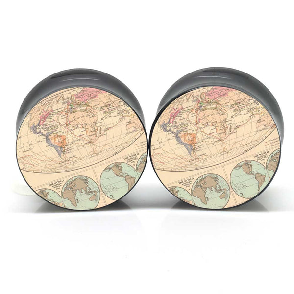 Atlas Map Ear Plugs - BodyJewelrySource