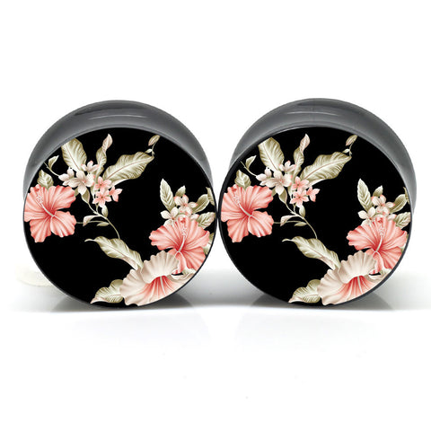 Dark Floral Ear Gauges