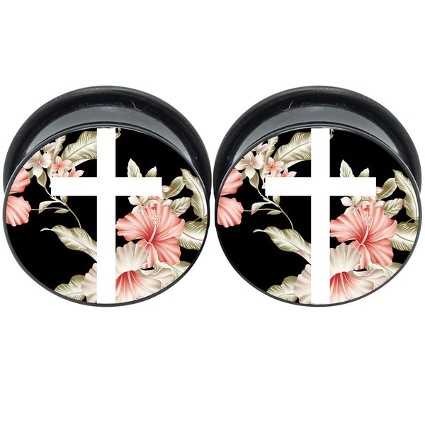 Dark Floral Cross Ear Gauges